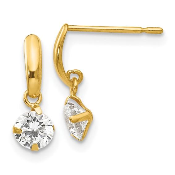 14kt Yellow Gold Madi K CZ Children's Dangle Crescent Earrings
