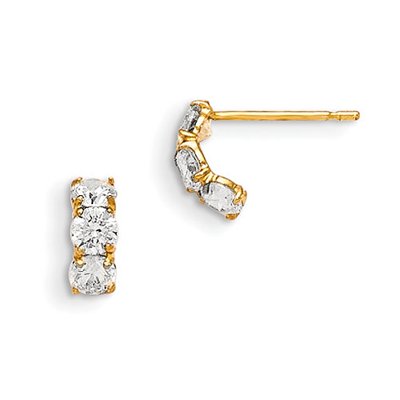14kt Yellow Gold Madi K CZ Children's Three Stone Post Earrings