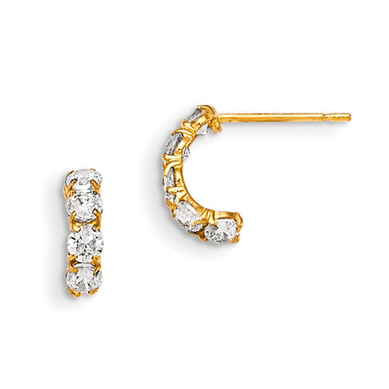 14kt Yellow Gold Madi K CZ Children's Five Stone Hinged Hoop Earrings