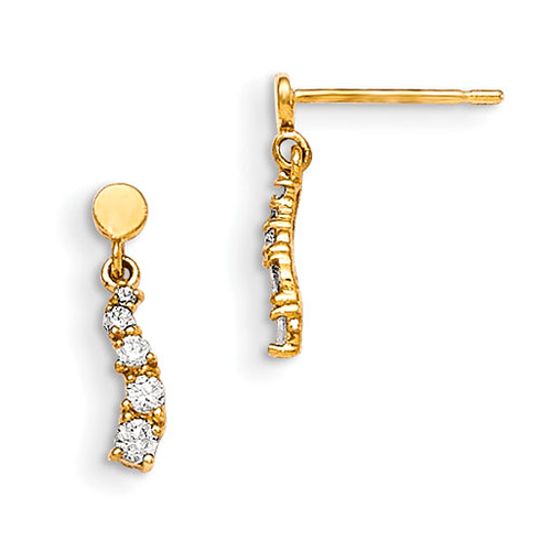 14kt Yellow Gold Madi K CZ Children's Squiggle Post Earrings