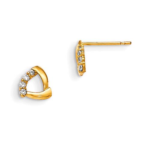 14kt Yellow Gold Madi K CZ Children's Triangle Post Earrings