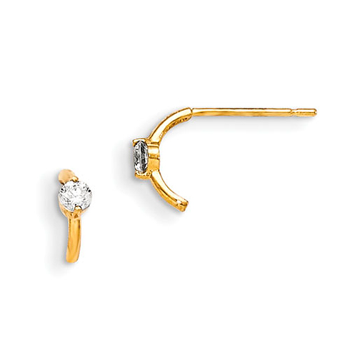 14kt Yellow Gold Madi K CZ Children's Curved Post Earrings