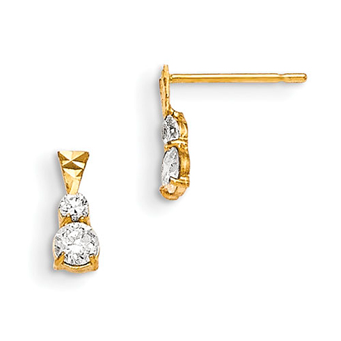 14kt Yellow Gold Madi K CZ Duo Children's Post Earrings