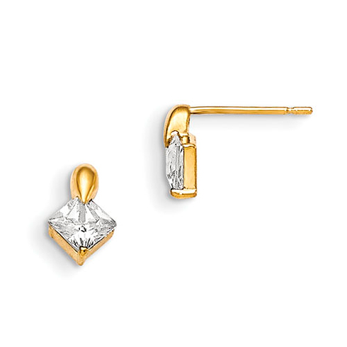 14kt Yellow Gold Madi K Square 5mm CZ Children's Post Earrings