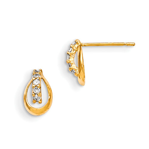 14kt Yellow Gold Madi K CZ Children's Pinched Oval Post Earrings