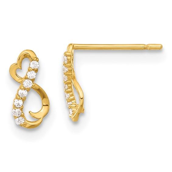 14kt Yellow Gold Madi K CZ Children's Heart Post Earrings