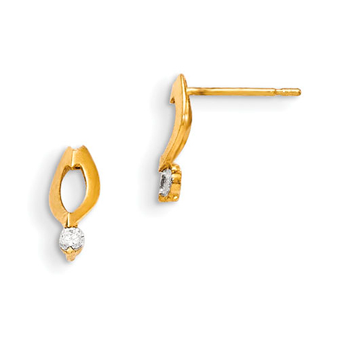 14kt Yellow Gold Madi K CZ Children's Cut-out Oval Post Earrings