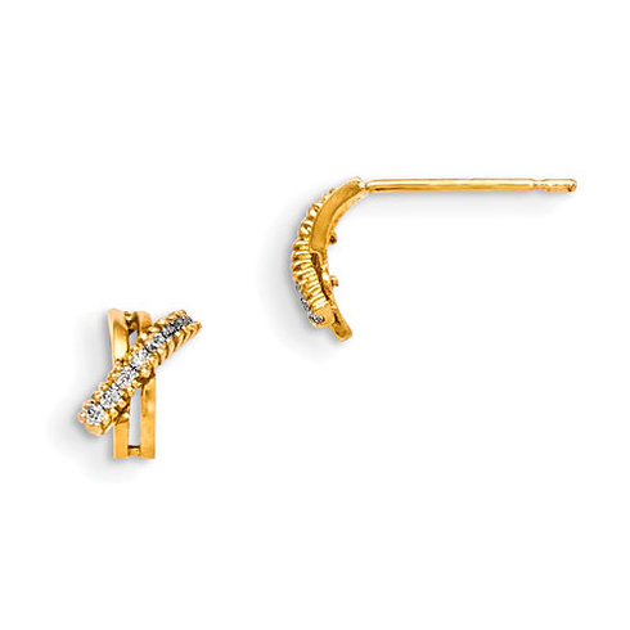 14kt Yellow Gold Madi K CZ Children's X Post Earrings