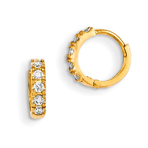 14kt Yellow Gold Madi K CZ Children's Pronged Hinged Hoop Earrings