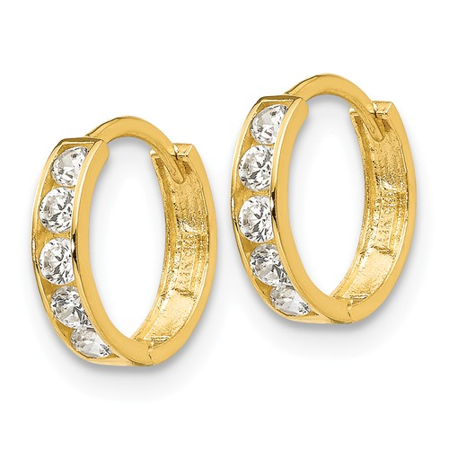 14kt Yellow Gold 3/8in Madi K CZ Children's Hinged Hoop Earrings