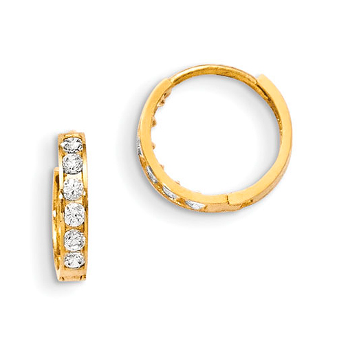 14kt Yellow Gold 1/2in Madi K CZ Children's Hinged Hoop Earrings