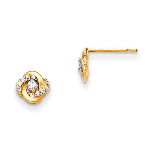 14kt Yellow Gold Madi K CZ Children's Swirl Post Earrings