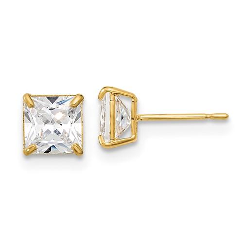 14kt Yellow Gold Madi K 5mm Square CZ Basket Set Stud Earrings