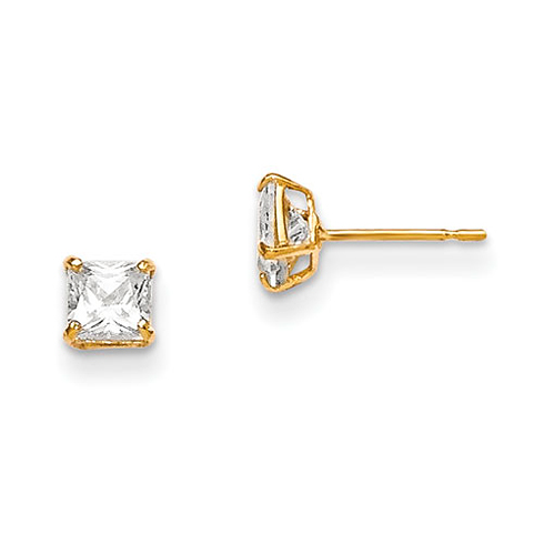 14kt Yellow Gold Madi K 4mm Square CZ Basket Set Stud Earrings