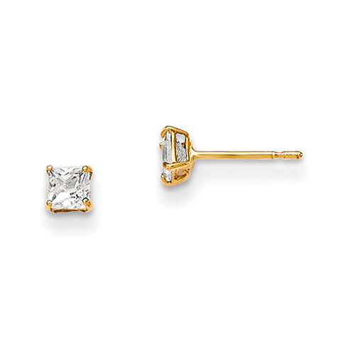 14kt Yellow Gold Madi K 3mm Square CZ Basket Set Stud Earrings