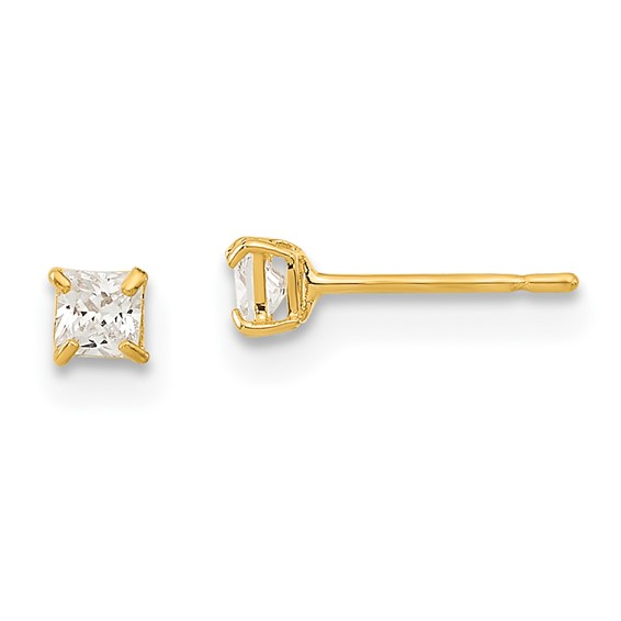 14kt Yellow Gold Madi K 2.5mm Square CZ Basket Set Stud Earrings