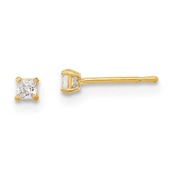 14kt Yellow Gold Madi K 2mm Square CZ Basket Set Stud Earrings