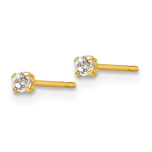 14kt Yellow Gold Madi K 2mm Round CZ Basket Set Stud Earrings