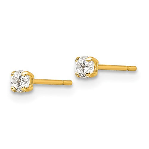 14kt Yellow Gold Madi K 2.5mm Round CZ Basket Set Stud Earrings