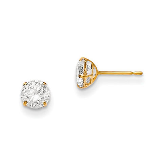 14kt Yellow Gold Madi K 5mm Round CZ Basket Set Stud Earrings