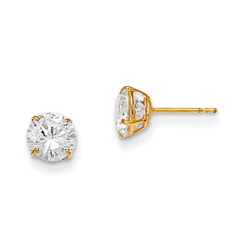 14kt Yellow Gold Madi K 6mm Round CZ Stud Earrings