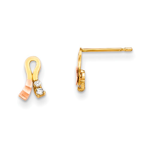14kt Yellow and Rose Gold Madi K CZ Children's Ribbon Earrings