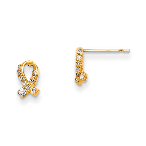 14kt Yellow Gold Madi K CZ Children's Ribbon Post Earrings