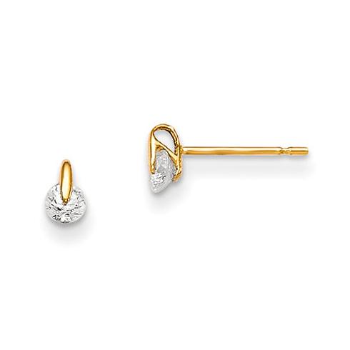 14kt Yellow Gold Madi K Floating CZ Children's Post Earrings