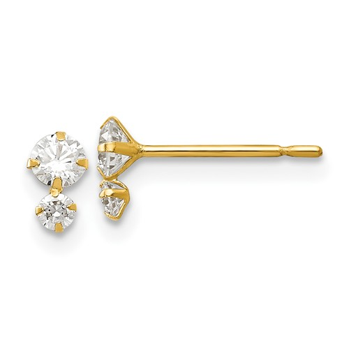14kt Yellow Gold Madi K Children's Post Earrings with Two Round CZs