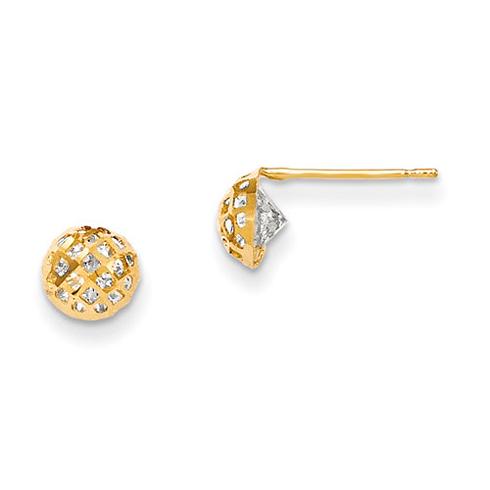 14kt Yellow Gold Madi K 6mm CZ Children's Half Ball Post Earrings