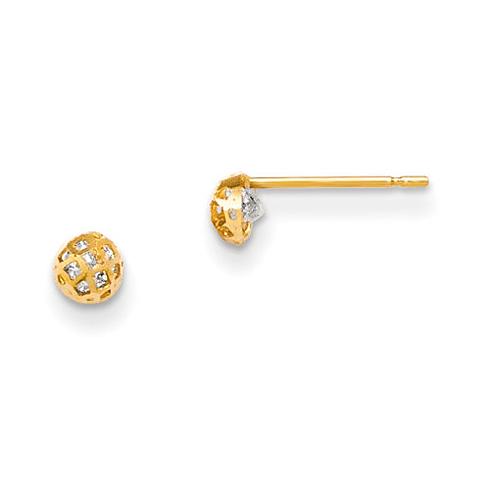 14kt Yellow Gold Madi K 4mm CZ Children's Half Ball Post Earrings