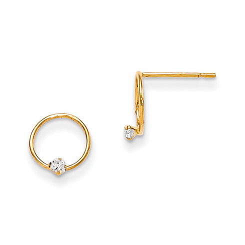 14kt Yellow Gold 5/16in Madi K CZ Children's Circle Post Earrings