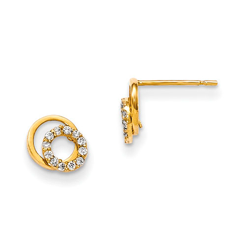 14kt Yellow Gold Madi K CZ Children's Two Circles Post Earrings