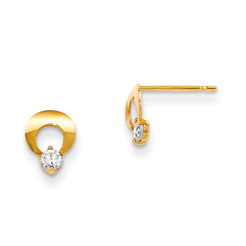 14kt Yellow Gold Madi K CZ Children's Pinched Loop Post Earrings
