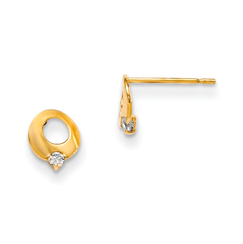 14kt Yellow Gold Madi K CZ Children's Cut-out Circle Post Earrings