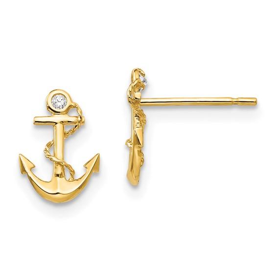 14kt Yellow Gold Madi K CZ Children's Anchor Post Earrings