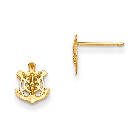 14kt Yellow Gold Madi K Children's Mariner Crucifix Post Earrings