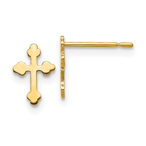 14kt Yellow Gold Madi K Children's Budded Cross Post Earrings