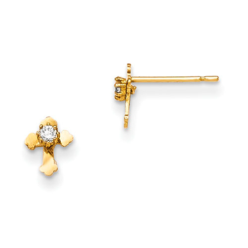 14kt Yellow Gold Madi K CZ Children's Cross Post Earrings