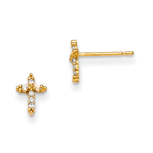 14kt Yellow Gold 1/4in Madi K CZ Children's Cross Post Earrings