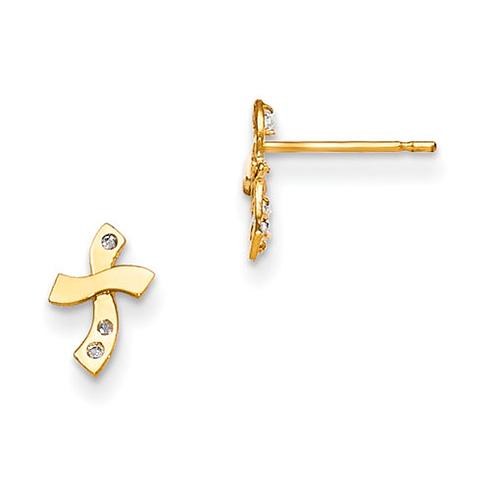 14kt Yellow Gold Madi K CZ Children's Wavy Cross Post Earrings