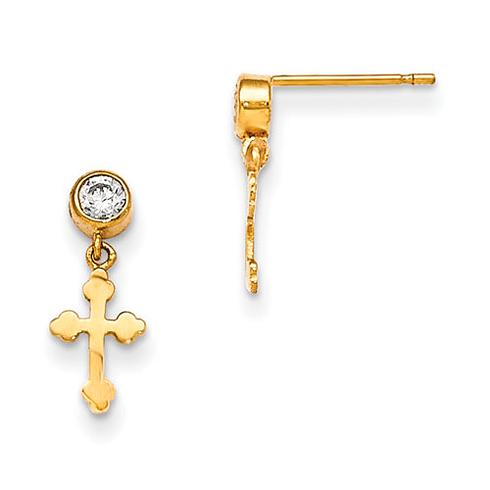 14kt Yellow Gold Madi K Bezel CZ Children's Cross Dangle Post Earrings