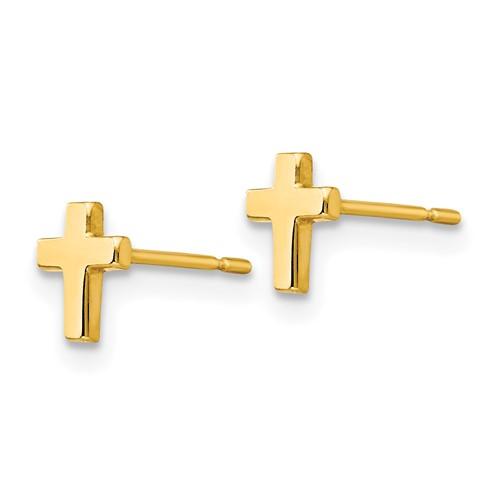 14kt Yellow Gold 1/4in Madi K Children's Latin Cross Post Earrings