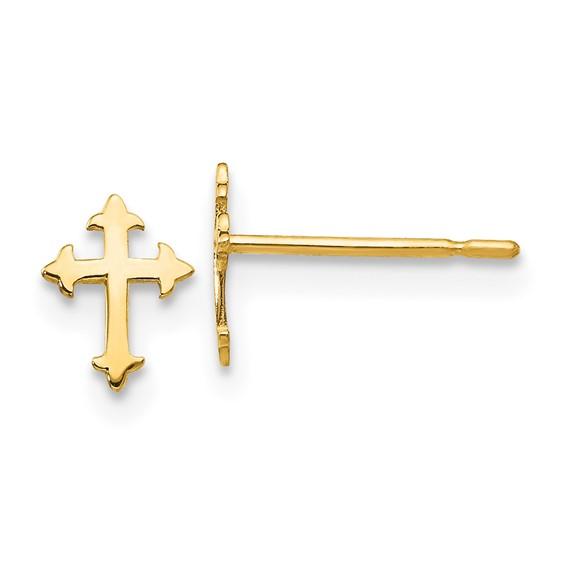 14kt Yellow Gold Madi K Children's Pointed Cross Post Earrings
