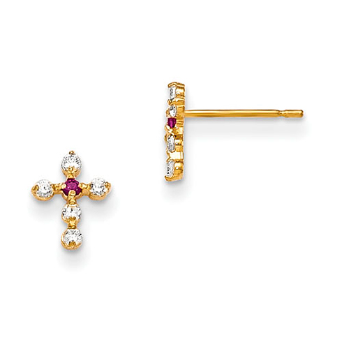 14kt Yellow Gold Madi K Red and White CZ Children's Cross Post Earrings