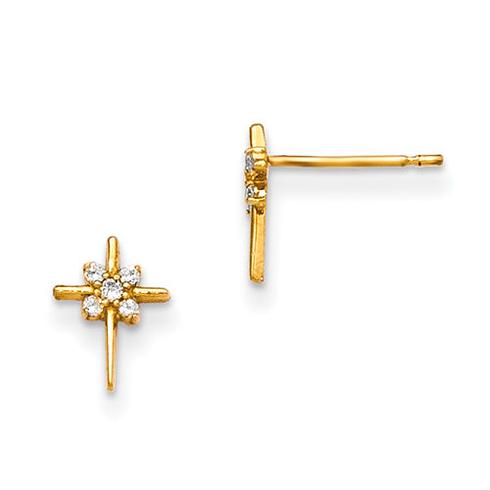 14kt Yellow Gold Madi K CZ Cluster Children's Cross Post Earrings