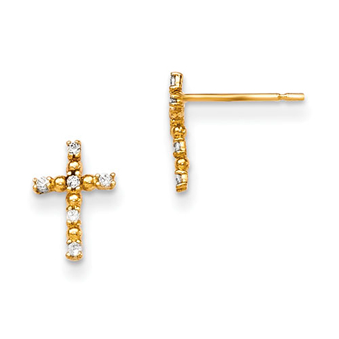 14kt Yellow Gold Madi K Children's Cross Post Earrings with CZs