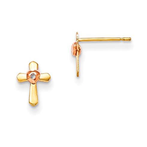 14kt Yellow and Rose Gold Madi K Children's Cross Heart Post Earrings