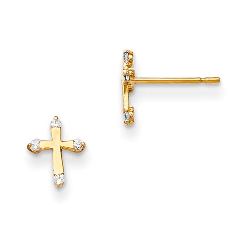14kt Yellow Gold Madi K Children's Cross Post Earrings with Four CZs