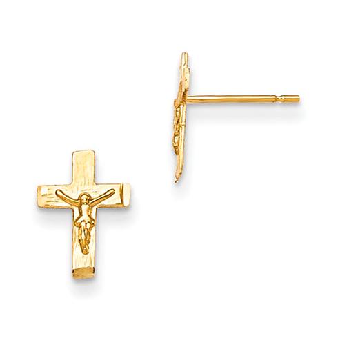 14kt Yellow Gold Madi K Children's Crucifix Post Earrings